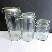 3 Paneled Clear Glass Canister Jar Set with Wire Bail Secure Swing Lids FREE SH