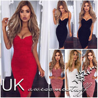 UK Womens Strappy Plunge Bodycon Dress Ladies Evening Party Lace Midi Dress 6-14