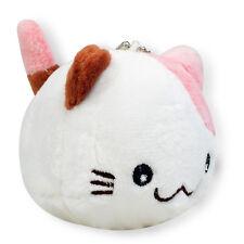 White W/ Pink & Brown Ear Round Kitty Cat Soft Plush Stuffed Animals Keychain