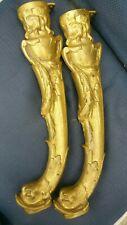Dolphin Fish furniture leg pair bronze Empire style hardware restoration 16 in
