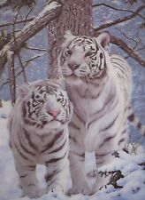 "3D Lenticular Picture White Tigers in the Snow 15 1/2""x 11 1/2 #293"