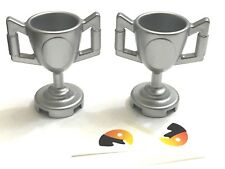 *NEW* 2 Pieces Lego Minifig Utensil  TROPHY CUP with Sticker METALLIC SILVER