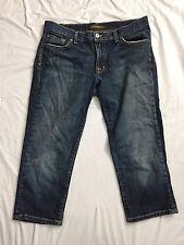 David Kahn Size 29 Cropped Capris Distressed Denim Blue Jean EUC