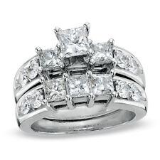 1 1/4ct Three-Stone Diamond 14K Solid White Gold Engagement Wedding Ring Set