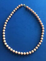 "Retro Vintage Emmons Peach Cream Marble Bead Necklace Signed 24"" Strand MCM"