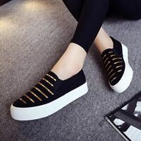 New Style Womens Canvas Gold Platform Flat Slip On Loafers Leisure Shoes Pumps