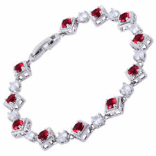 18K White Gold Plated Cubic Zirconia Red Ruby Tennis Bracelet Gift Jewelry