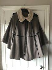 TOPSHOP Tweed Style Aviator Cape Coat Thick UK 12 Winter coat Elegant Wool RARE
