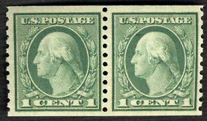 1916 US STAMP 1c WASHINGTON COIL PAIR SC490