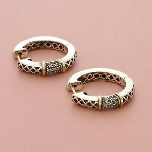 andrea candela sterling silver 14k gold diamond hoop earrings
