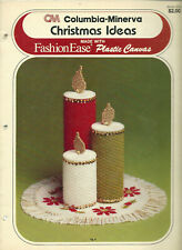 Columbia Minerva CHRISTMAS IDEAS Plastic Canvas Pattern Leaflet Boxes Ornaments+