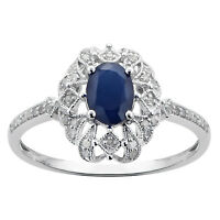 White Gold Genuine Vintage Style Sapphire and Diamond Ring