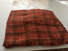 KING SIZE BED SKIRT TAILORED STYLE COTTON PLAID ORANGE BROWN CREMIEUX