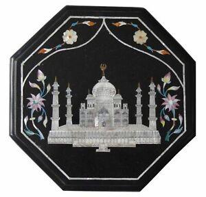 "12"" Octagonal Black Marble Taj Mahal Inlay Coffee Table Top Christmas Gifts"