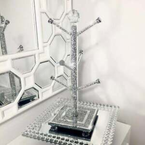 NEW Crushed Diamond Mug Tree Cup Holder Silver Kitchen Crystal Ideal For Gift