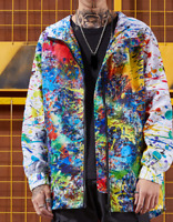 Mens Multi-colors Printed Japanese Style Hooded Jacket Casual Outwear Coat A230