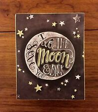 I LOVE YOU TO THE MOON & BACK wooden chalk box sign 4 x 5 Primitives by Kathy