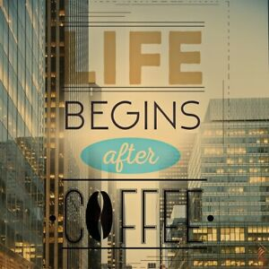 LIFE BEGINS AFTER COFFEE - FUN NOVELTY SOUVENIR COASTERS - EASY CLEAN  / GIFTS