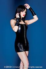 NEW Darque by Coquette Black Wetlook Hook & Eye Mini Dress Gothic M