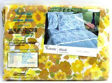 NEW Vintage Wamsutta Yellow Floral Supercale Standard Double Fitted Bed Sheet