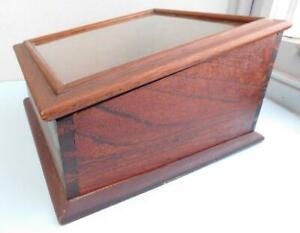 Antique Australian Cedar? Hardwood Display Case Slant Top Glass Top 1900s