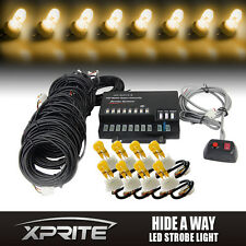 Xprite 8 Amber HID Bulbs Hide A Way Emergency Hazard Flash Strobe Lights System