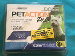 PetAction for Dogs 5-22 lbs Flea & Tick Treatment  3- Doses Factory Sealed