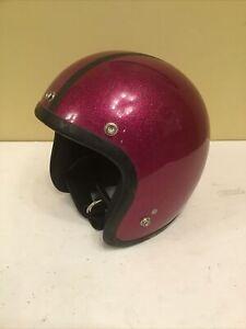 Vintage Shoei Motorcycle Helmet S-3 Deep Pink Metalflake Color Size XS