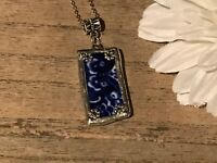 Recycled Broken Porcelain Jewelry, Vintage Blue Willow Pendant