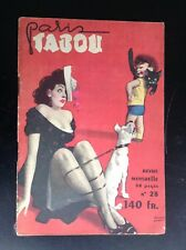 Ancienne revue Paris Tabou N° 28 1952 TBE Pin up érotisme