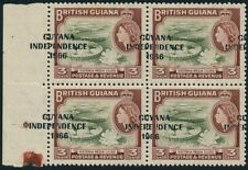 "Guyana 1967-68 3c (SG422) Blocks Shifted Overprint & ""1966"" Flaw Unmounted mint"