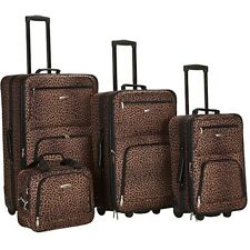 Expandable Luggage Set 4 Piece Traveler Travel Bags Rolling Rockland Leopard New