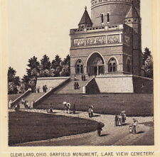 Cleveland 1890's Pres Garfield Monument Photo Dr Hartman Remedy Advertising Card