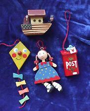 Vintage Wood Christmas Tree Ornaments Doll Patriotic Flag Kite Noahs Ark Santa +
