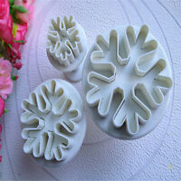 3X DIY Snowflake Fondant Cake Decorating Sugarcraft Cutter Plunger Mold Mould FT