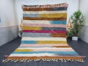 "Moroccan Handmade Kilim Zanafi Rug 6'8""x9'8"" Berber Geometric White Brown Carpet"