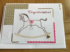 Handmade stitched Card. New Baby Girl. Daughter. Rocking Horse. Heart