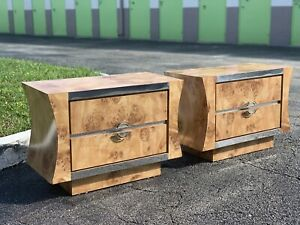 Burl Laminate And Chrome Nightstands Vintage MCM