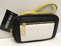 STEVE MADDEN Woman's Wallet/Wristlet *Black Quilted* Clutch Mini Purse iPhone 6+