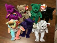 RARE BEANIE BABY LOT OF 7 THE END, PRINCESS, THE BEGINNING, PEACE, ERIN