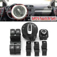 6pcs Headlight Window Mirror Switch Control Set For VW Passat Jetta MK5 6 Golf