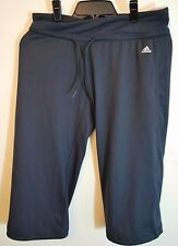 ADIDAS Womens CLIMALITE Straight Coupe 3/4 Workout Pant Athletic Yoga Charcoal L