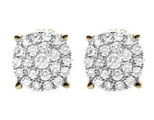 Ladies 10K Yellow Gold Genuine Diamond Round Cluster Studs Earrings 0.75CT 11MM