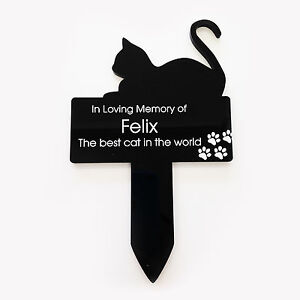 Small/Large Personalised Engraved Acrylic Cat Sit Memorial Plaque