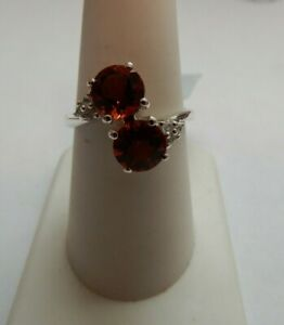 Size 8 Genuine Madeira Citrine & White Zircon 925 Sterling Silver Ring 2.26cts