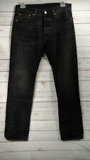 Levi's 501 Button Fly Classic Fit Straight Leg Black Jeans Leather Patch 33X34
