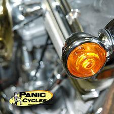 DIMPLED OLD  BULLET TURN SIGNAL LIGHTS CHROME /AMBER HARLEY BOBBER RATROD 1-PAIR