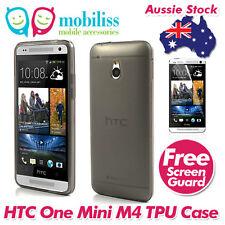 Black Jelly TPU Gel iSkin Case Cover for HTC ONE Mini M4 Screen Protector
