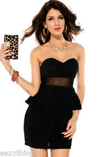 Black Glitter Fabric  Mesh Accent Peplum Style  Dress  Stretchy S/M 8-10