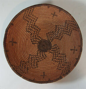 1890s NATIVE AMERICAN APACHE INDIAN DECORATED LOW BASKET / BOWL HAND WOVEN